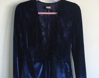 Vintage Sz L crushed velevt one piece jumper leotard