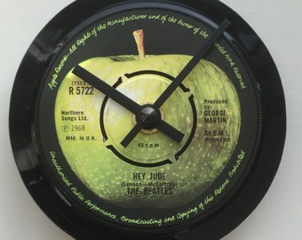 The Beatles - Hey Jude. Clock made from record.