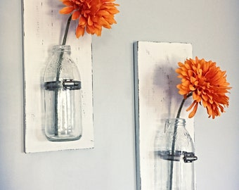 Rustic shabby chic wall vases