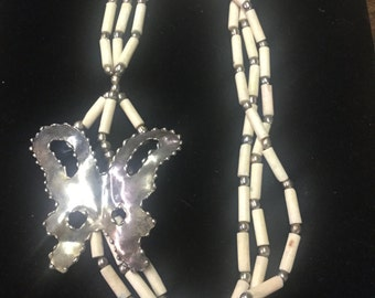 Vintage Deco Necklace, Silvertone Butterfly!