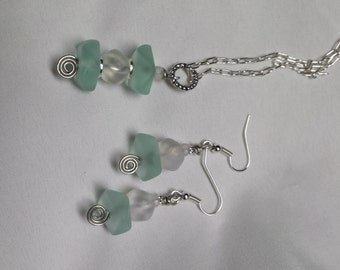 Seaglass Necklace & Earrings