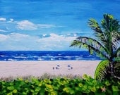Palm tree painting / canvas wall paintings / beach scene art / oil painting seascape / wall decoration / by Ryan Kimba