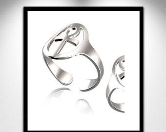 Ankh silver ring autoréglable _ bague Ankh argent auto-réglable