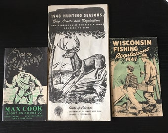 Lot of 3 vintage hunting/fishing sports pamphlets colorado, wisconsin 1947 1948