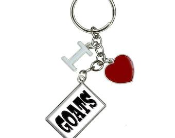 Goats I Heart Love Keychain Key Ring