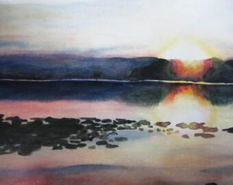 "Sunset Reflection Watercolour Original 11""x14"""