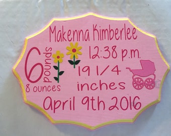 New baby sign, nursery decor, kids bedroom decor, baby announcement, hand painted with vinyl wooden sign