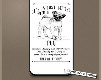 Pug dog phone case cover iPhone Samsung ~ Can be Personalised