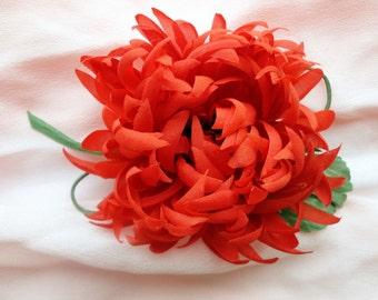 Fabric flower.Red chrysanthemum