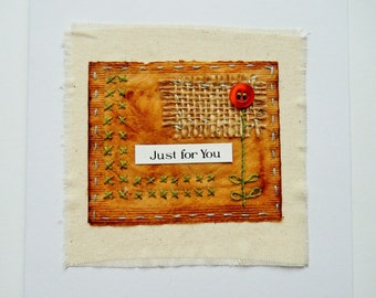 Handmade card for loved one with 'Just for you' sentiment, anniversay, best friend card