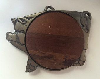 Cast Iron • Wood Pig Trivet