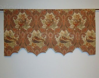 P Kaufmann Wilderness Bird Pheasant Toile Scalloped Valance Cedar, Lined, Rod Pocket