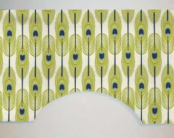 Premier Prints Feathers Slub Custom Valance Curtain, Canal, Abstract Peacock Blue Green, Lined