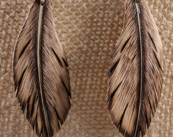Hand Carved Wood Feather Earrings (Unpainted)