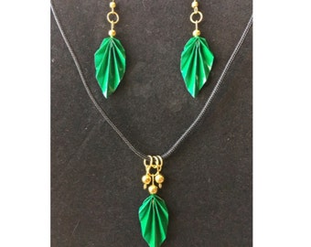 Green Origami Leaf Earrings and Necklace Set