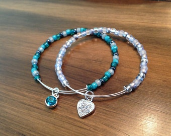 Blue ocean bangle stack, Beautiful handmade bangles, Simple design, Dangling charms, Cute bangles, Good for summer outfit, Great gift