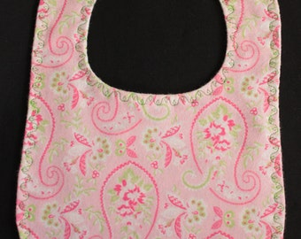 Bib - Pink Paisley Flannel  with Green Dotted Swiss backing and Pearl Snap Fastener
