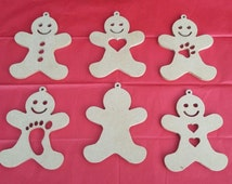 Blank MDF hanging wood craft gingerbread man ideal for Christmas decoration