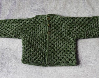 Crochet Baby Sweater, 9-12 Months, Camo Green,  Baby Sweater,