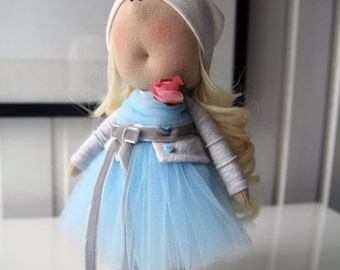 """Textile doll """"Girl with flower"""". Interior doll, handmade"""