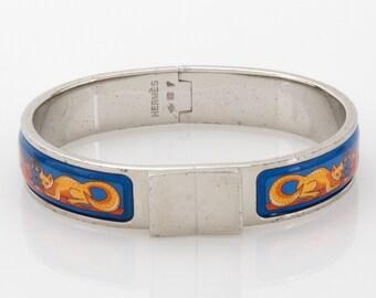 Hermes Fox and Bunny Hunt Style Bangle Bracelet Fine Contemporary Blue Enamel