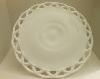 Vintage Large Milk Glass Cake Stand/Colony Lace Cake Stand