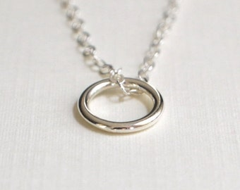 CLOSING SALE Silver Circle Necklace - Limited Edition - Circle Necklace - Small Charm