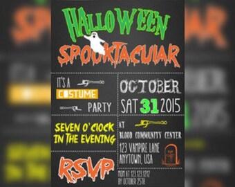 Spooktacular Halloween Party Birthday Invitation - Halloween kids birthday Invitations - Halloween Bash Party Invitations