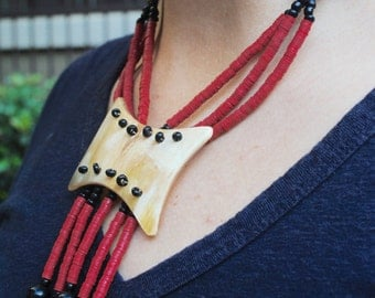 Horn and bead African necklace