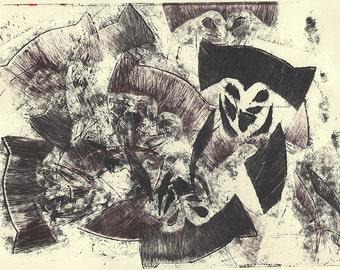 Graphic Stencil Black and Red Graffiti Owl, Print, Digital Copy