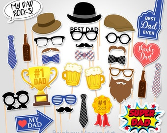 Printable Father's Day Party Photo Booth Props - Father's Day Photobooth Props - Father's Day Printable Props - Happy Father's Day Props