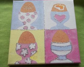 funky glittery dippy eggs original canvas art 20x20cm
