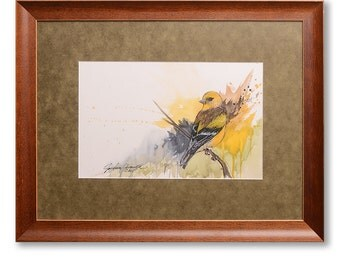 Yellow Finch Watercolor Painting