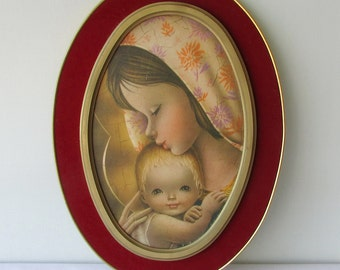 Oval picture of the Virgin Mary. Vintage. 70's.