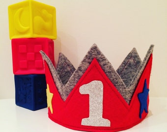 Red and grey birthday crown