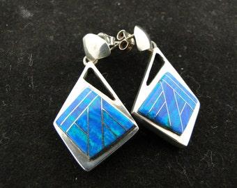 Blue Green Fire Opal Sterling Silver Earrings
