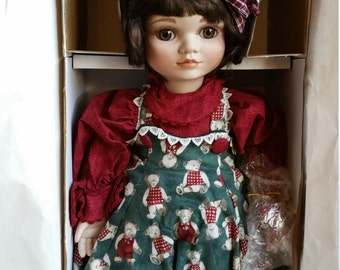 """Marie  Osmond Porcelain Doll """" I Love You Beary Much """" with Annette Funicello bear"""
