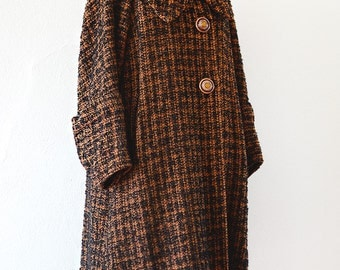 40s Tweed Swing Coat with Ascot