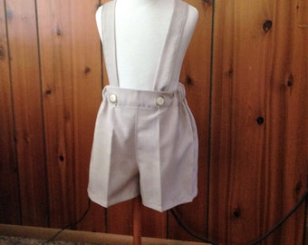 Boys tan shorts, boys suspender shorts, ring bearer shorts, available to order 12 mo, 18 mo, 2t, 3t, 4t, 5t ,6