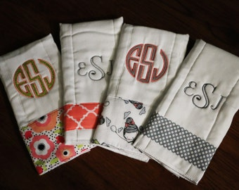 4 Personalized Embroidered Baby Burp Cloths- Monogrammed Cloth Diapers - Baby Gift Set