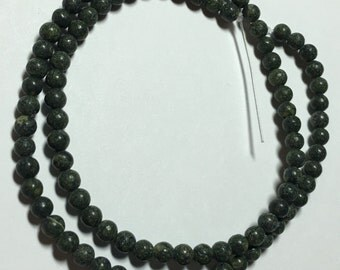 15 Inch Strand Dark Green Russian Serpentine Ball Beads (4mm)