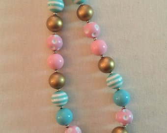Pink And Gold Bubbblegum Bead Necklace