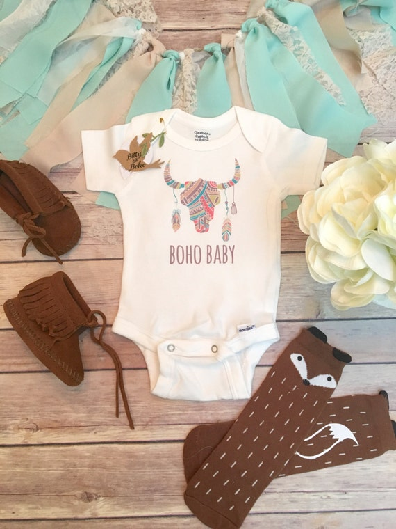 Boho Baby Clothes Skull Baby Horns Feather Baby esie