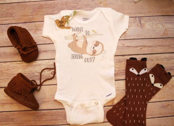 Want To Hang Out Sloth Onesie 174 Baby Boy Clothes By