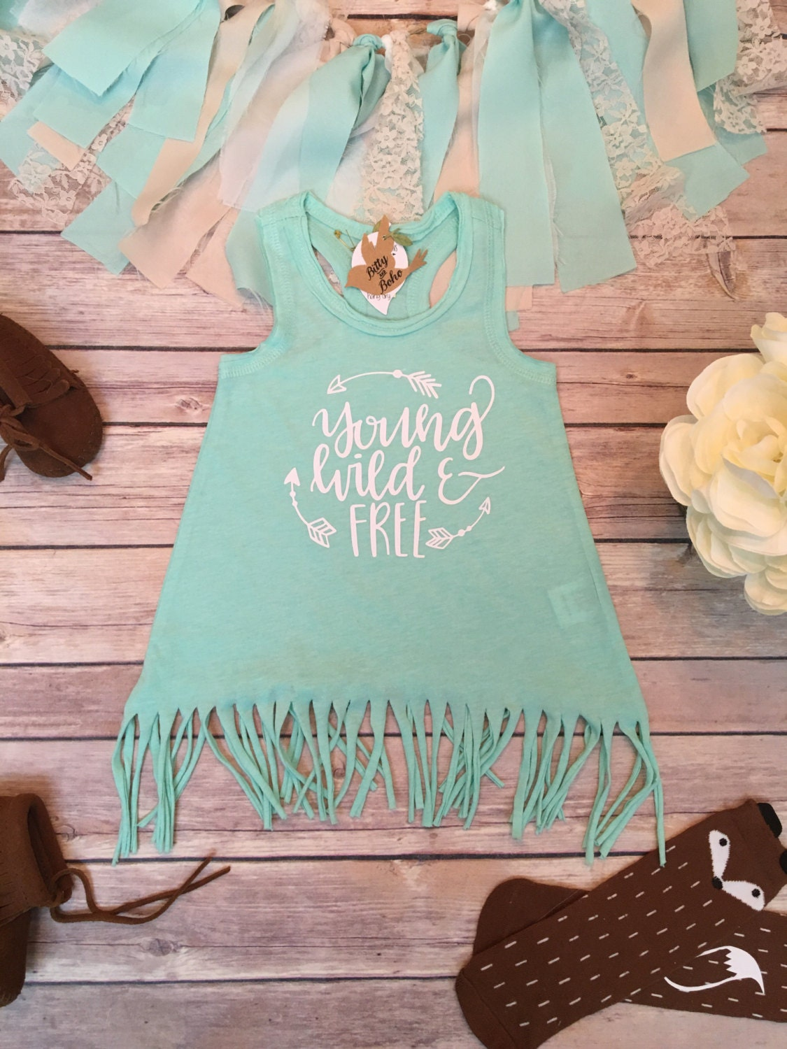 Boho Baby Clothes Young Wild & Free Baby Fringe Dress Cute