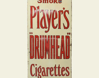 Large Vintage Enamel Players Cigarettes Advertising Sign