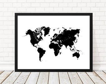 World Map, You mean the world to me, World Map Black Print, Black Map, Black Map of the World Wall Art, Map Art, 18x24, 8x10, 50x70 cm