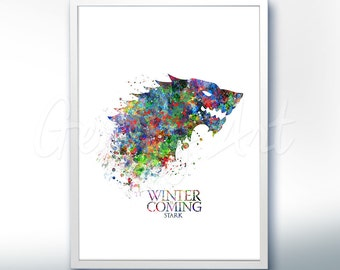 Game Of Thrones House Stark Watercolor Art Poster Print Game Of Thrones Art Watercolor Painting