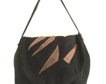 Useful hancrafted black suede and brown leather handbag, casual shoulder bag