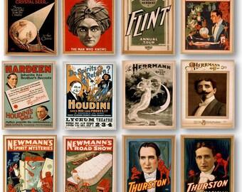 Various Vintage Magicians Poster Ads Collectors Set of 12 Prints